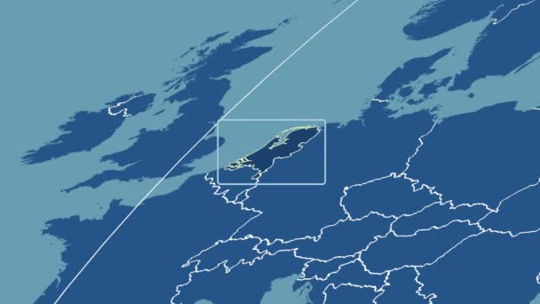 Netherlands - 3D tube zoom (Mollweide projection). Solids