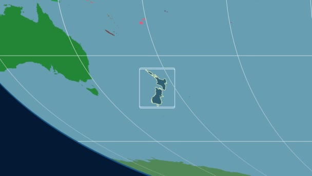 New Zealand - 3D tube zoom (Mollweide projection). Administrative