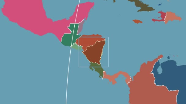 Nicaragua - 3D tube zoom (Kavrayskiy VII projection). Administrative
