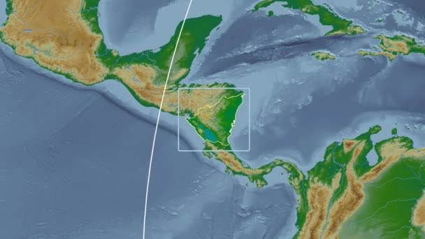 Nicaragua - 3D tube zoom (Mollweide projection). Bumps shaded