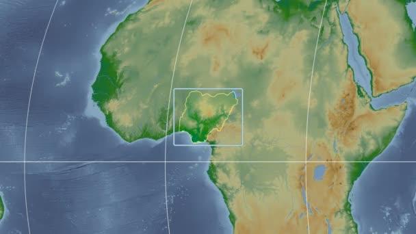 Nigeria - 3D tube zoom (Kavrayskiy VII projection). Bumps shaded