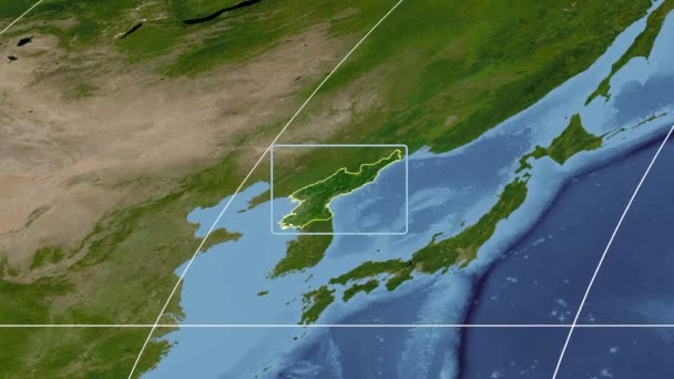 North Korea - 3D tube zoom (Mollweide projection). Satellite — Stock on