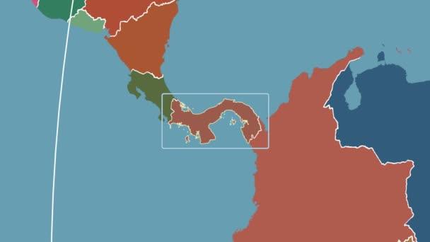 Panama - 3D tube zoom (Kavrayskiy VII projection). Administrative