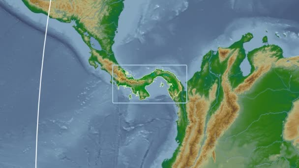 Panama - 3D tube zoom (Kavrayskiy VII projection). Bumps shaded