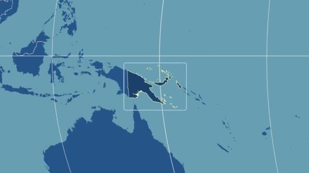 Papua-Nová Guinea - 3d trubice zoom (Kavrayskiy Vii projekce). Tuhé látky