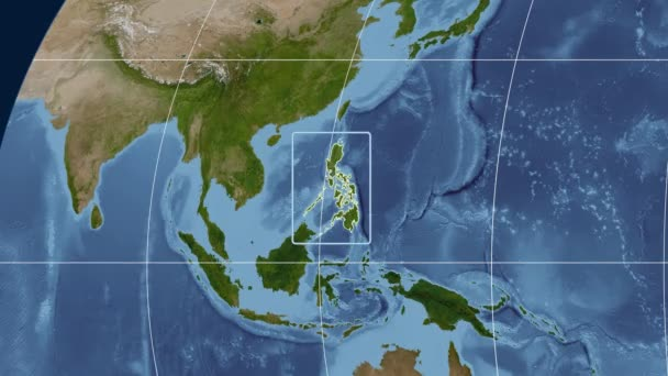 Philippines - 3D tube zoom (Kavrayskiy VII projection). Satellite