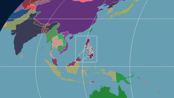 Philippines - 3D tube zoom (Mollweide projection). Administrative