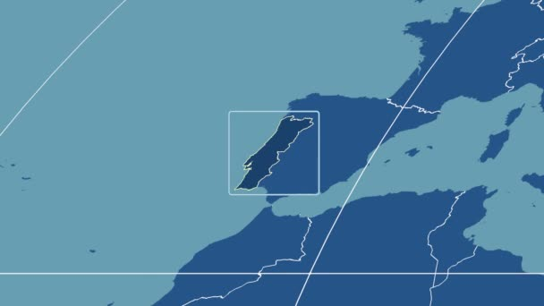 Portugalsko - 3d trubice zoom (Mollweidovo zobrazení). Tuhé látky