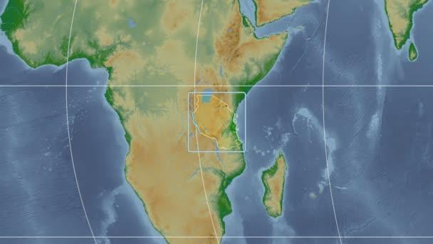 Tanzania - 3D tube zoom (Kavrayskiy VII projection). Bumps shaded