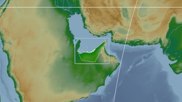United Arab Emirates - 3D tube zoom (Kavrayskiy VII projection). Bumps shaded