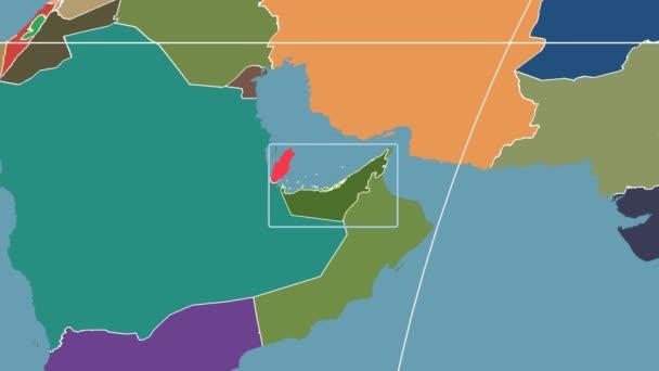 Spojené arabské emiráty - 3d trubice zoom (Mollweidovo zobrazení). Administrativní