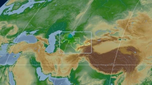 Uzbekistan - 3D tube zoom (Kavrayskiy VII projection). Bumps shaded