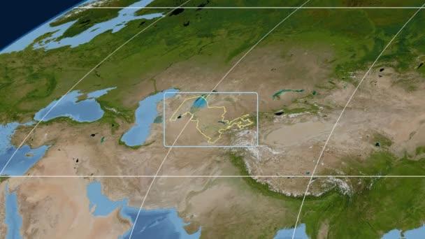 Uzbekistán - 3d trubice zoom (Mollweidovo zobrazení). Satelitní