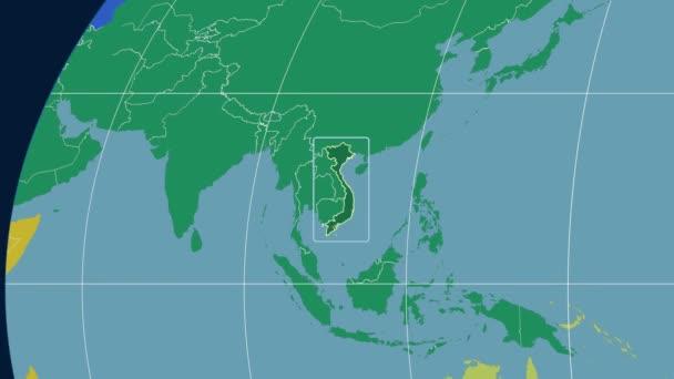 Vietnam - 3D tube zoom (Kavrayskiy VII projection). Continents