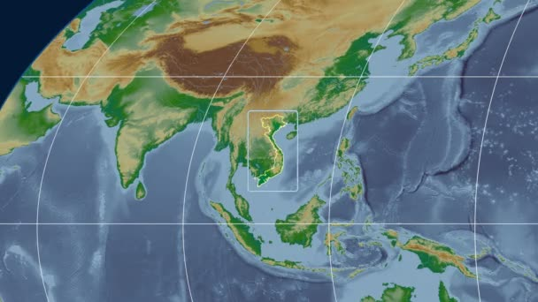 Vietnam - 3D tube zoom (Mollweide projection). Bumps shaded