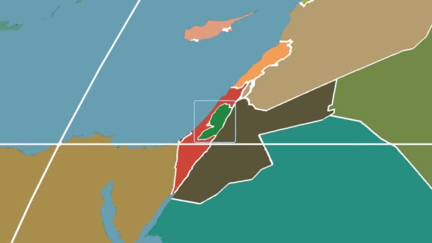 Západní břeh - 3d trubice zoom (Mollweidovo zobrazení). Administrativní