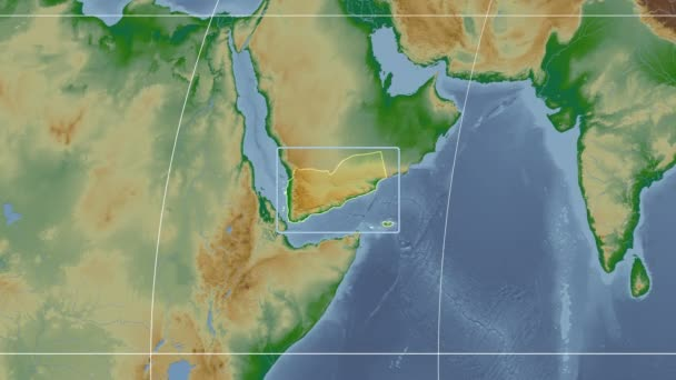 Yemen - 3D tube zoom (Kavrayskiy VII projection). Bumps shaded