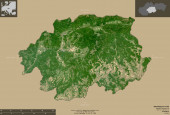 Banskobystricky, Slovenská oblast. Sentinel-2 satelitní snímky. Tvar izolovaný na pevném pozadí s informativními překryvy. Obsahuje upravená data Copernicus Sentinel
