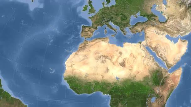 Algeria outlined and glowed. Neighbourhood. Satellite