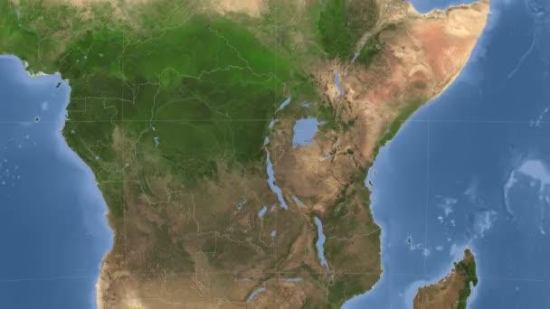 Burundi outlined and glowed. Neighbourhood. Satellite