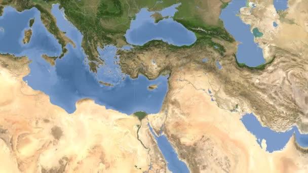 Cyprus outlined and glowed. Neighbourhood. Satellite