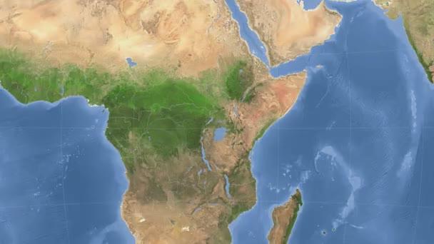 Uganda outlined and glowed. Neighbourhood. Satellite