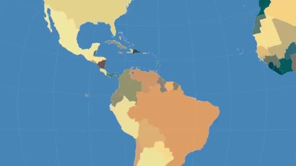 Venezuela outlined and glowed. Neighbourhood. Administrative