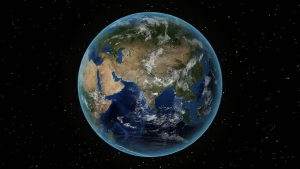 Angola. 3D Earth in space - zoom in on Angola outlined. Star sky background