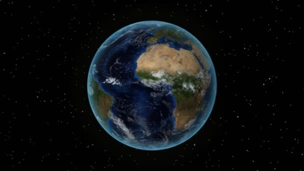 Brazil. 3D Earth in space - zoom in on Brazil outlined. Star sky background