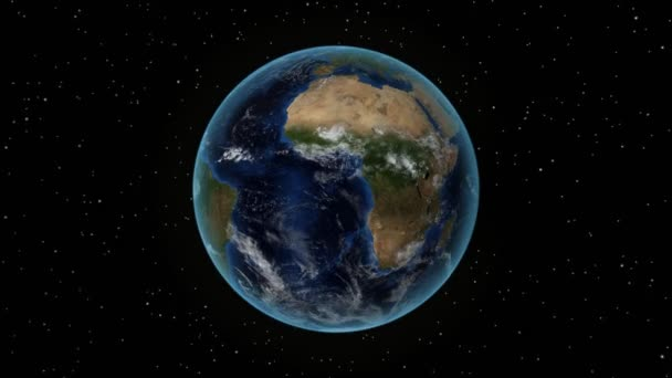 Chile. 3D Earth in space - zoom in on Chile outlined. Star sky background