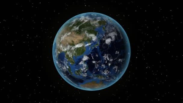 Czech Republic. 3D Earth in space - zoom in on Czech Republic outlined. Star sky background