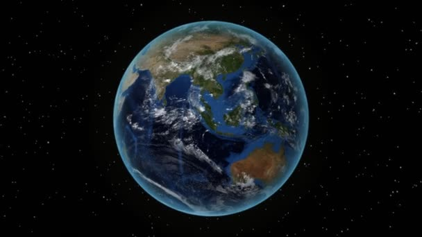 Ethiopia. 3D Earth in space - zoom in on Ethiopia outlined. Star sky background