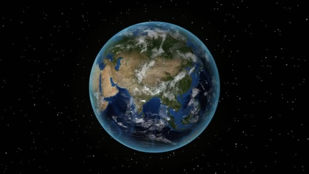 France. 3D Earth in space - zoom in on France outlined. Star sky background