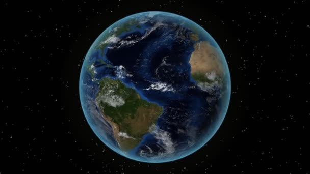 Nicaragua. 3D Earth in space - zoom in on Nicaragua outlined. Star sky background