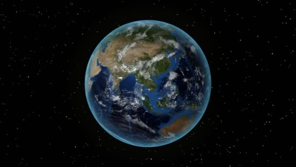 Nigeria. 3D Earth in space - zoom in on Nigeria outlined. Star sky background