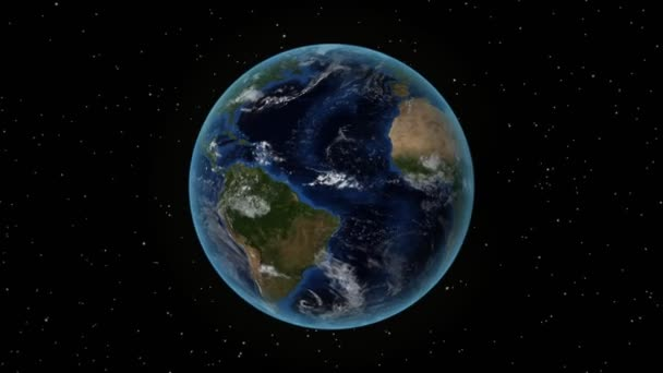 Panama. 3D Earth in space - zoom in on Panama outlined. Star sky background