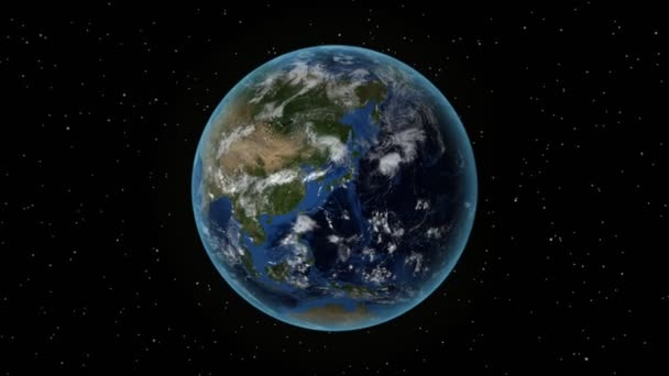 Turkey. 3D Earth in space - zoom in on Turkey outlined. Star sky background