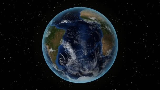 Uruguay. 3D Earth in space - zoom in on Uruguay outlined. Star sky background
