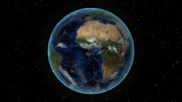 Venezuela. 3D Earth in space - zoom in on Venezuela outlined. Star sky background