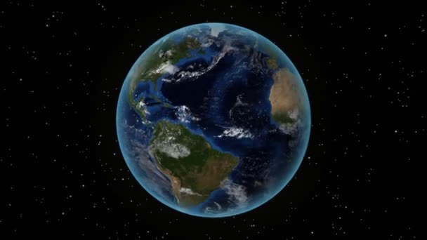 Mexico. 3D Earth in space - zoom in on Mexico outlined. Star sky background