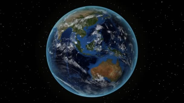 Somalia. 3D Earth in space - zoom in on Somalia outlined. Star sky background