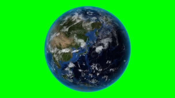 Kazakhstan. 3D Earth in space - zoom in on Kazakhstan outlined. Green screen background