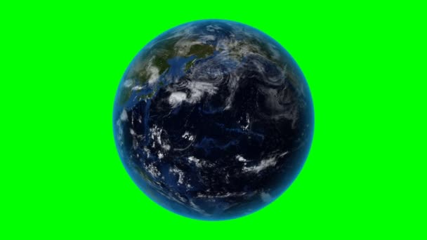North Korea. 3D Earth in space - zoom in on North Korea outlined. Green screen background