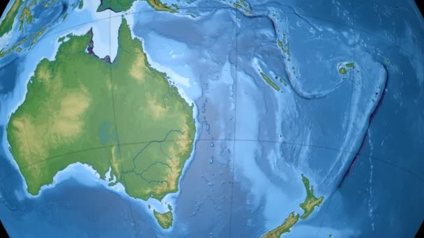 Australia. Physical globe with lakes and rivers. Loopable