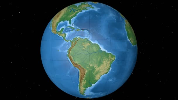 Equator Zone. Physical Globe With Lakes And Rivers. Overview. Loopable U2014  Stock Video