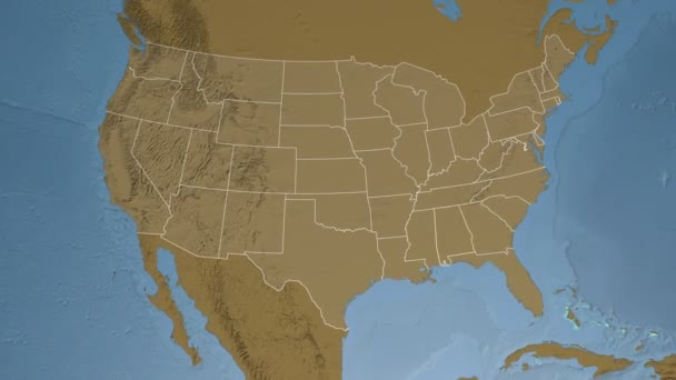 Alabama State Usa Extruded On The Elevation Map Of North America