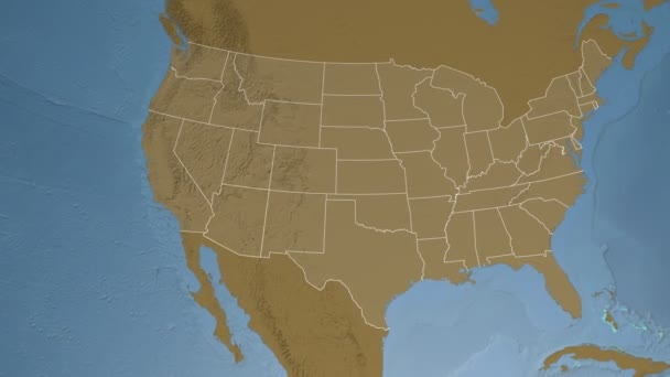 Arizona state (USA) extruded on the elevation map of North America ...