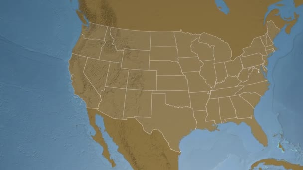 California state (USA) extruded on the elevation map of North America