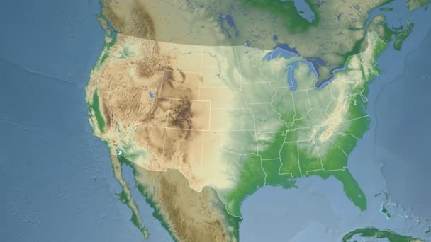 Colorado state (USA) extruded on the physical map of North America ...