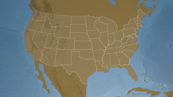 Georgia state (USA) extruded on the elevation map of North America ...